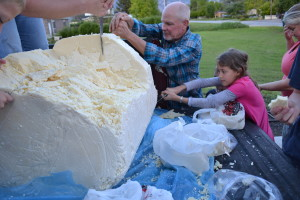 It seems a local Memorial Day custom in Bear River City is to cut junks off of a large piece of cheese that sits in the back of a pickup truck.